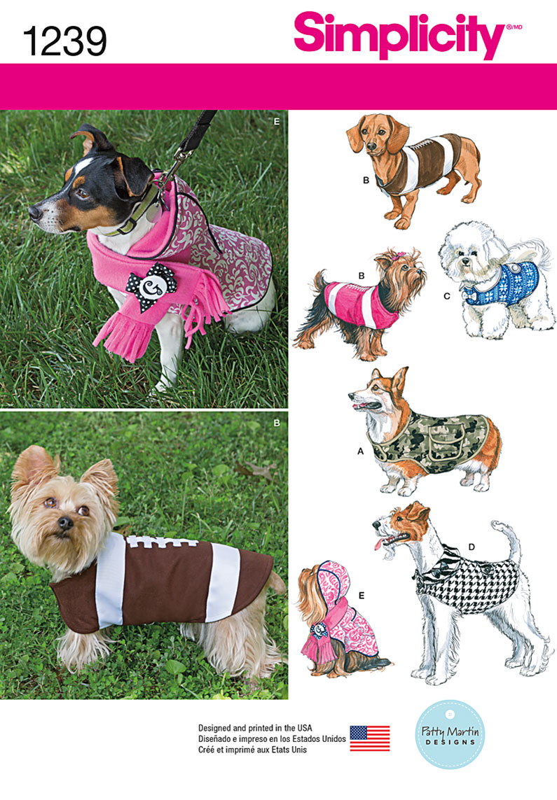 Sewing Patterns For Dogs Simplicity 1239 Dog Coats In Three Sizes