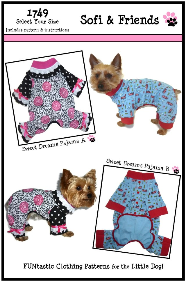 Sewing Patterns For Dogs Sweet Dreams Dog Pajamas Pattern 1749 Dog Onesies Dog Pjs Dog