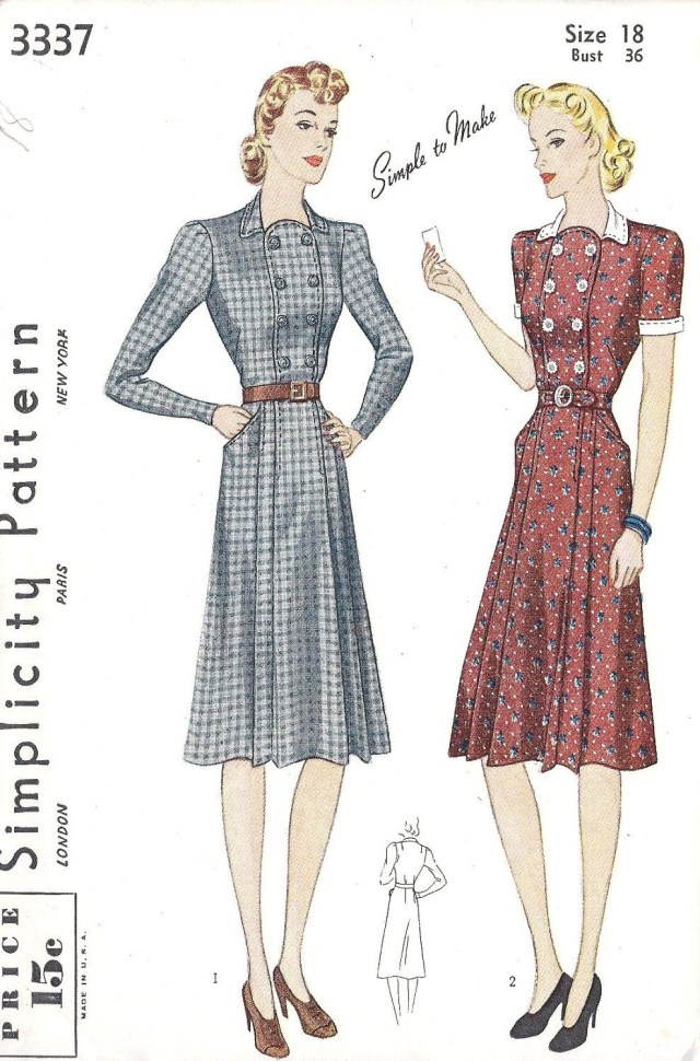 Sewing Patterns For Dresses 1940s Dress Patterns Free 1940s Misses Tailored Dress Vintage