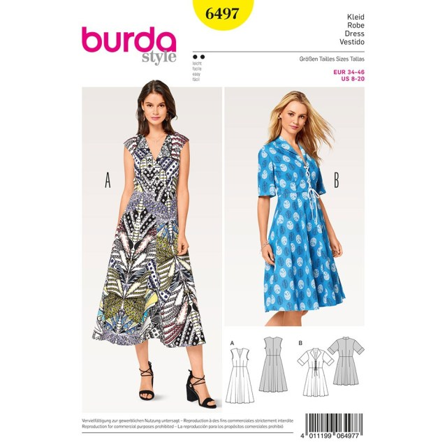 Sewing Patterns For Dresses Misses V Neck Dress Burda Sewing Pattern 6497 Sew Essential