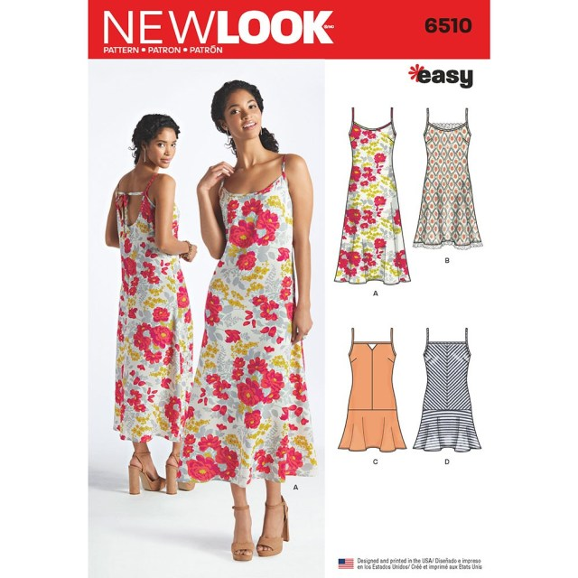 Sewing Patterns For Dresses Womens Slip Dresses With Length And Back Variations New Look Sewing