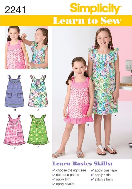 Sewing Patterns Girls Simplicity 2241 Learn To Sew Childs Girls Dresses