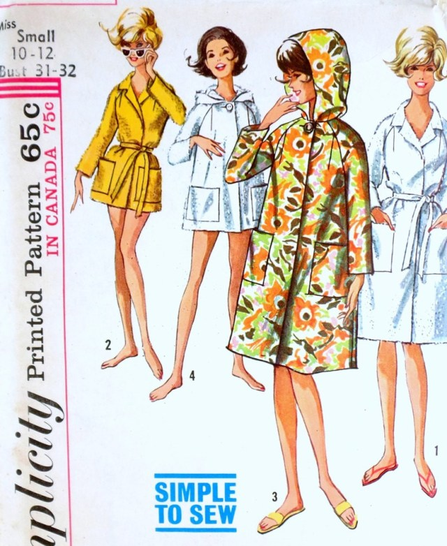 Sewing Patterns Simplicity 1960s Robe Pattern Simplicity 5965 Simple To Sew Beach Coat Cover Up