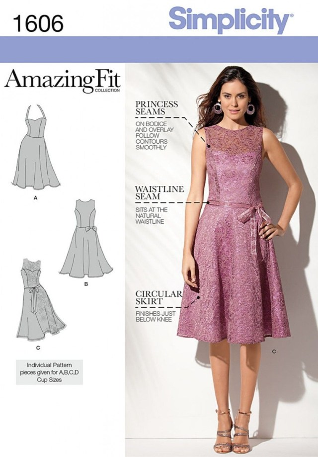 Sewing Patterns Simplicity Simplicity 1606 Misses And Miss Petite Amazing Fit Dress Sewing