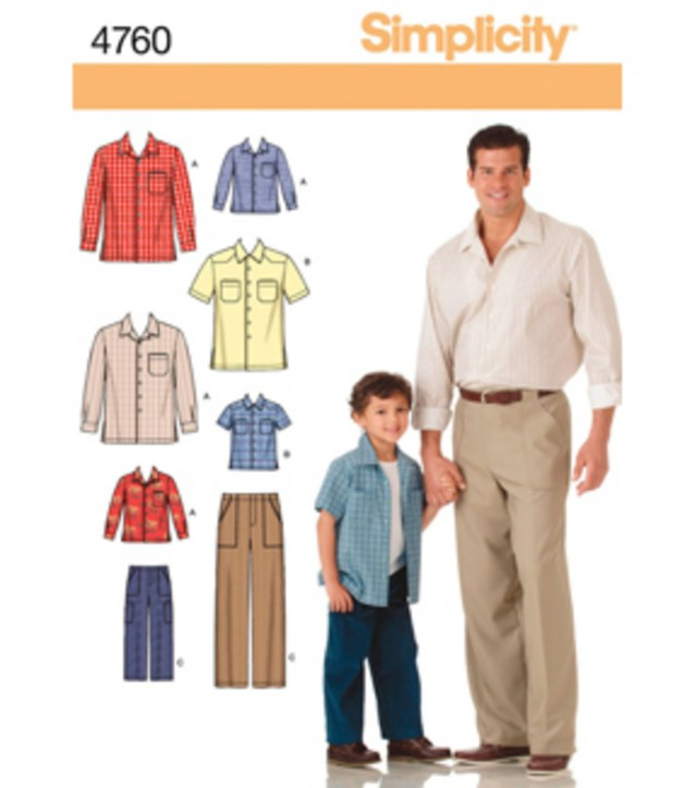 Sewing Patterns Simplicity Simplicity Pattern 4760 Boys Mens Pants Shirts S M Ls M L Xl