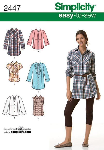 Shirt Sewing Pattern Womens Womens Shirt Easy Sewing Pattern 2447 Simplicity Easy To Sew