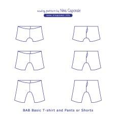 Shorts Sewing Pattern Bab Basic T Shirt And Pants Or Shorts Sewing Pattern Nina Caporale