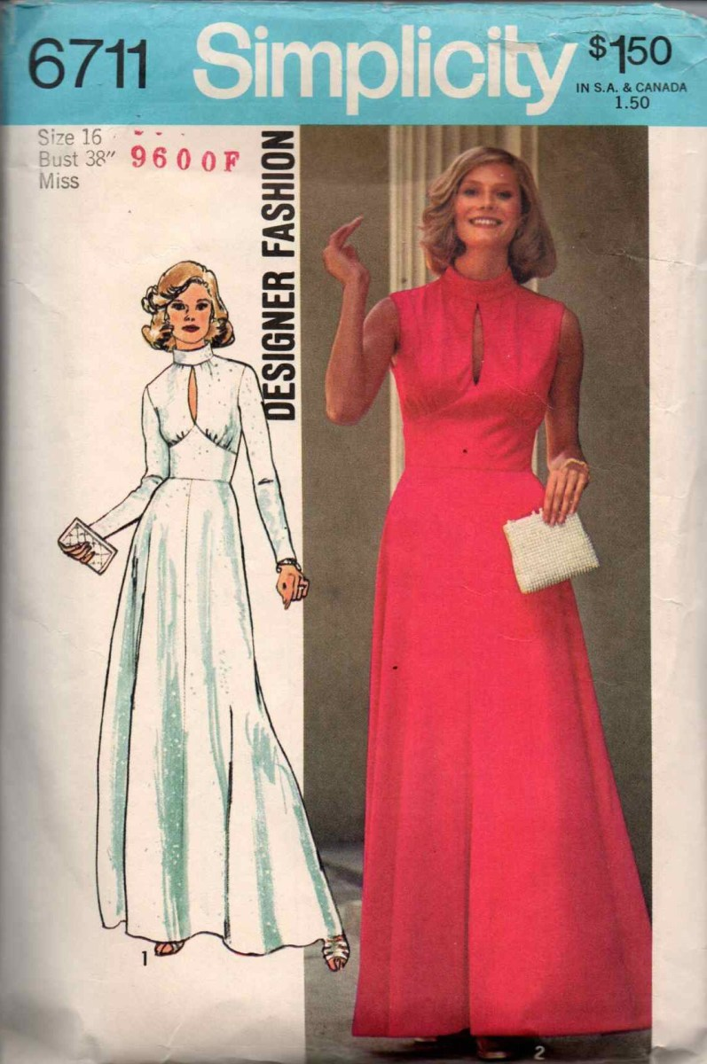 Simplicity Sewing Patterns Canada Vintage 1974 Simplicity Womens Long Formal Dress Sewing Pattern