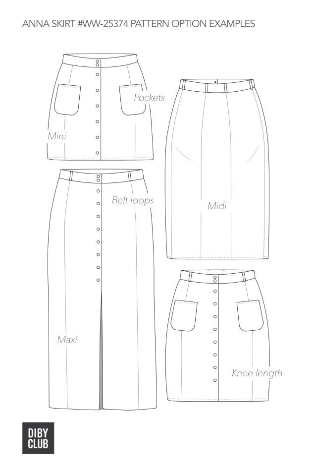 Skirt Sewing Patterns Anna Womens Button Up Skirt Pdf Sewing Pattern Di Club