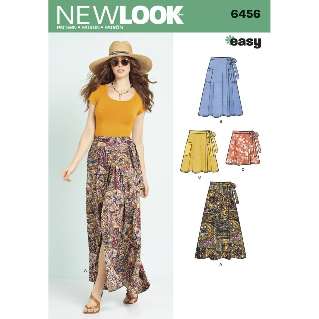 Skirt Sewing Patterns New Look Womens Easy Wrap Skirts Sewing Pattern 6456 Hobcraft