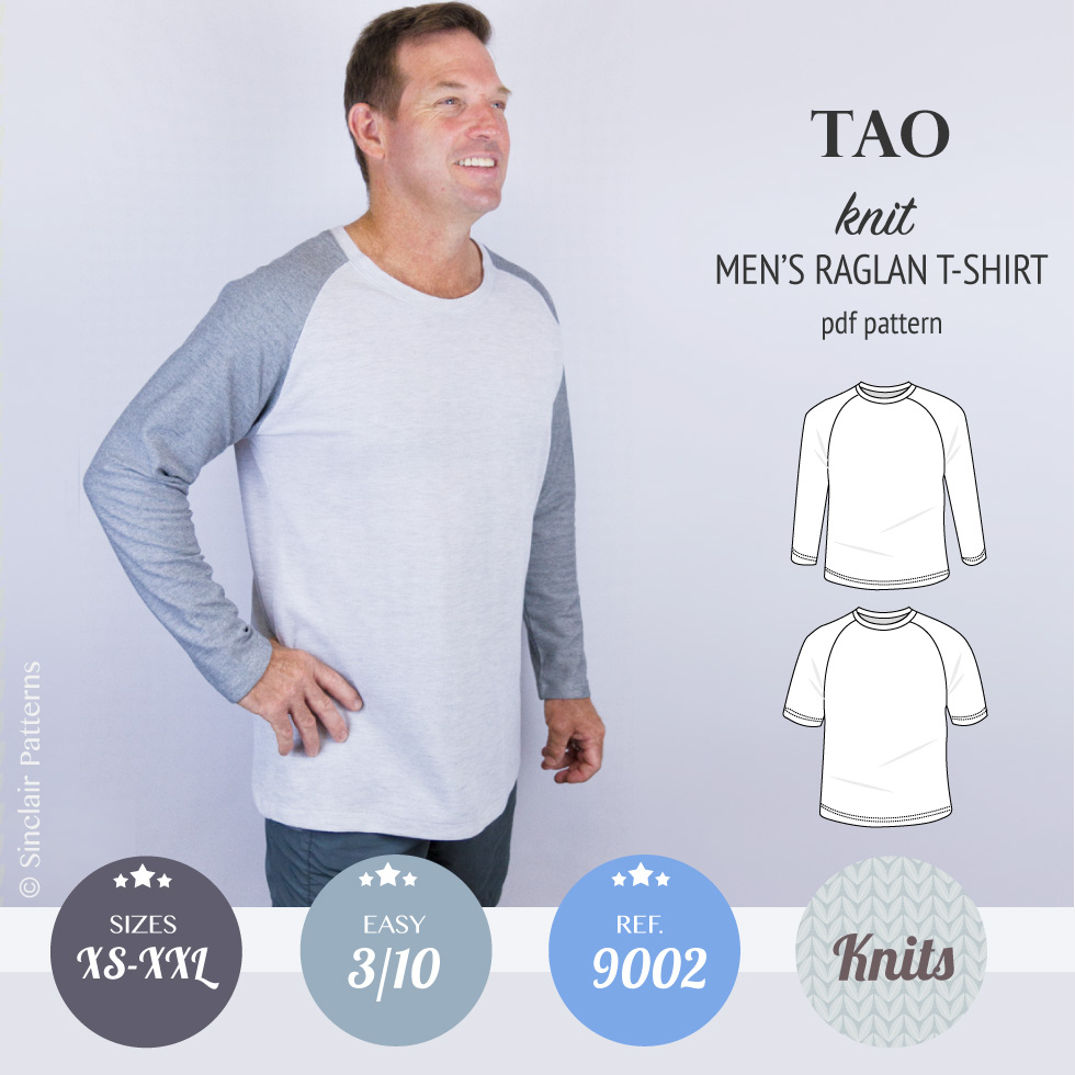 T Shirt Sewing Pattern Tao Semi Fitted Classic Raglan T Shirt For Men Pdf Sinclair Patterns
