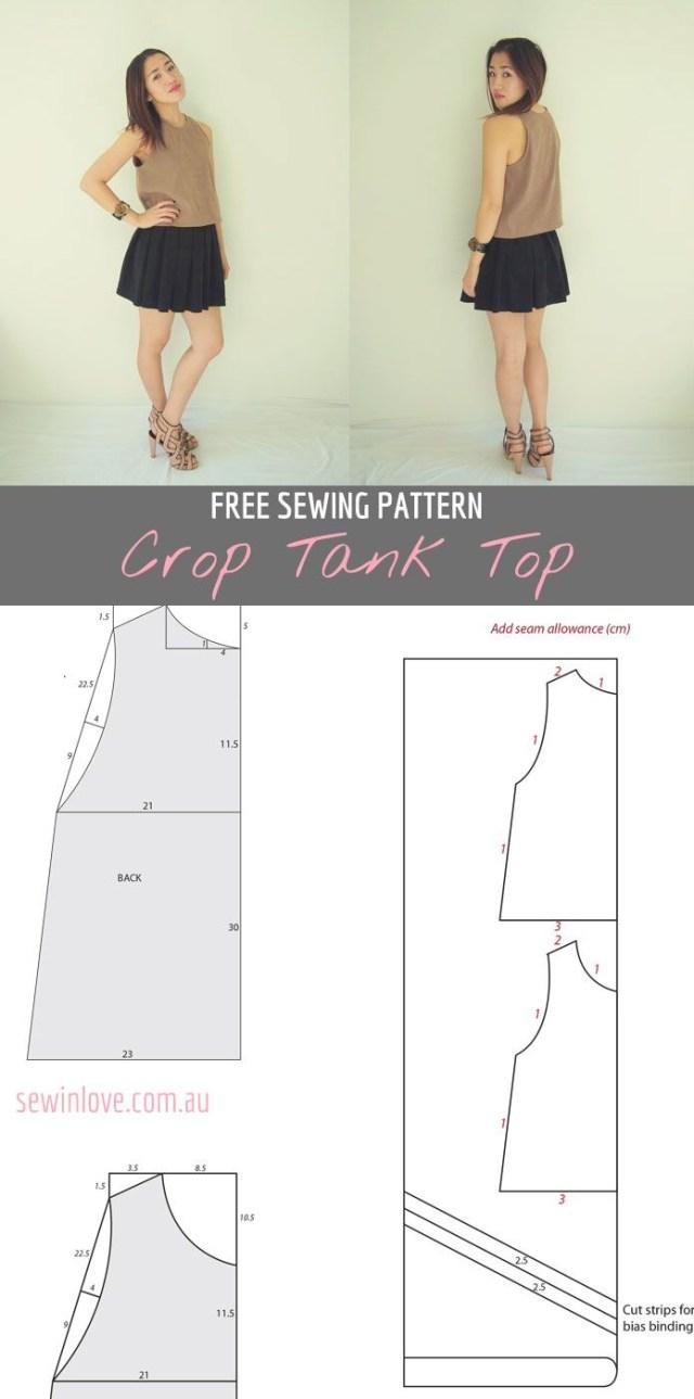 Tank Top Sewing Pattern Free Crop Tank Top Sewing Pattern And Tutorial Sewing Sewing