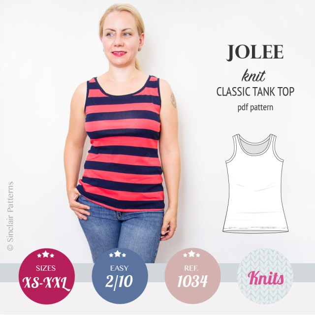 Tank Top Sewing Pattern Jolee Knit Longline Tank Top Sewing Pattern Pdf Sinclair Patterns