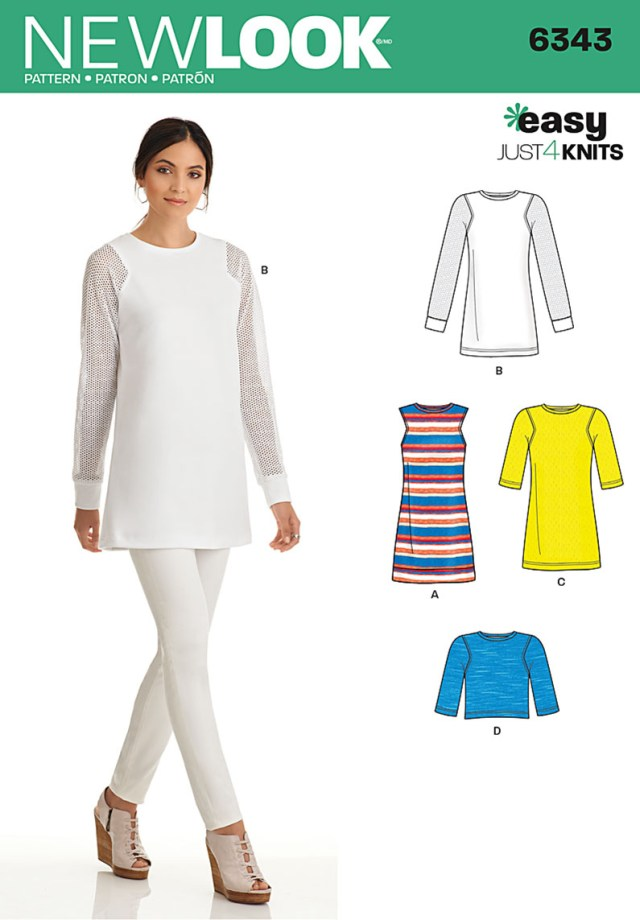 Tunic Sewing Pattern New Look 6343 Misses Knit Tunic In Two Lengths And Top
