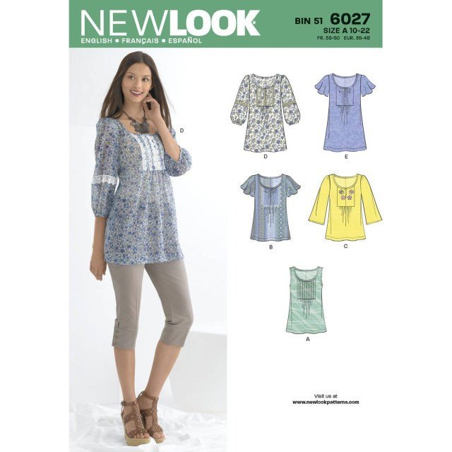 Tunic Sewing Pattern New Look Womens Tunics And Tops Sewing Pattern 6027 Hobcraft