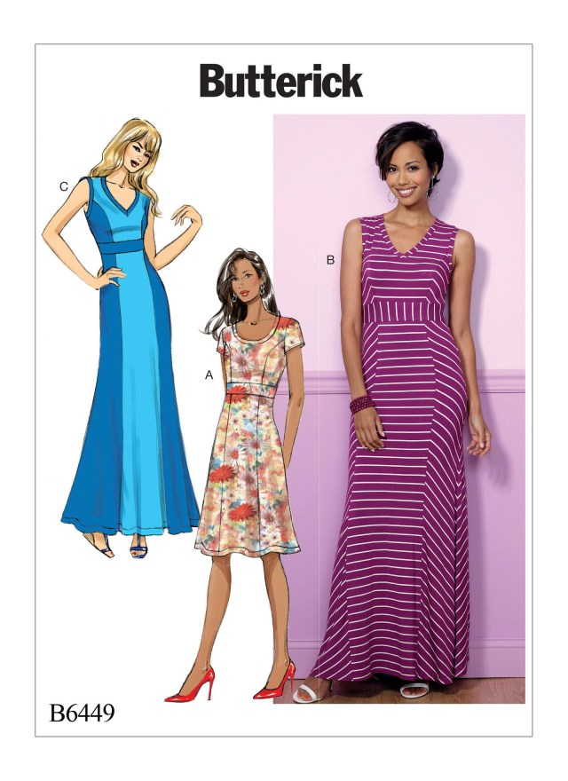 V Neck Dress Sewing Pattern Butterick 6449 Misses V Neck Or Scoopneck Princess Seam Dresses