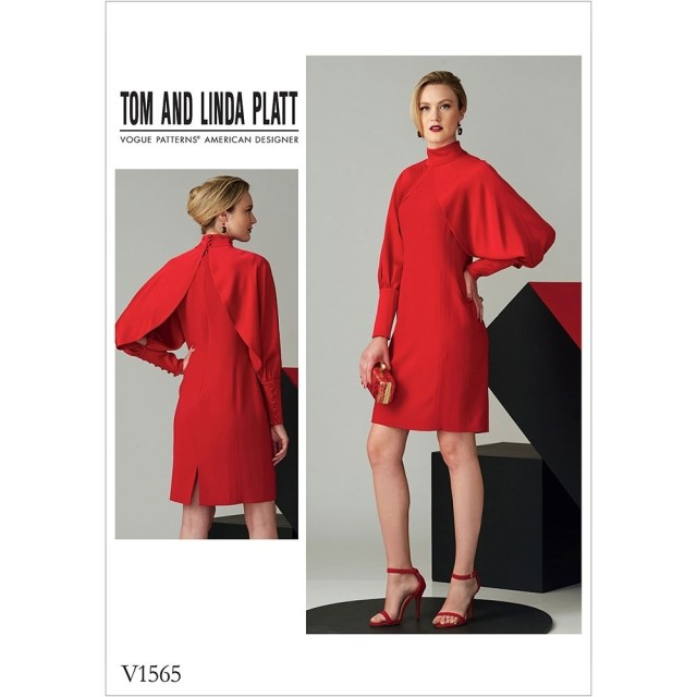 V Neck Dress Sewing Pattern Misses High Neck Dress With Full Sleeves Vogue Sewing Pattern 1565