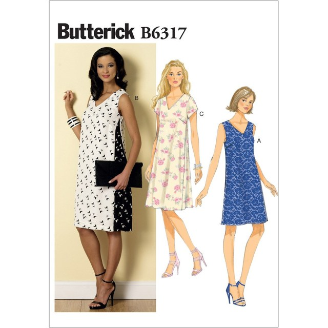 V Neck Dress Sewing Pattern Misses Pullover V Neck Dresses Butterick Sewing Pattern 6317 Sew