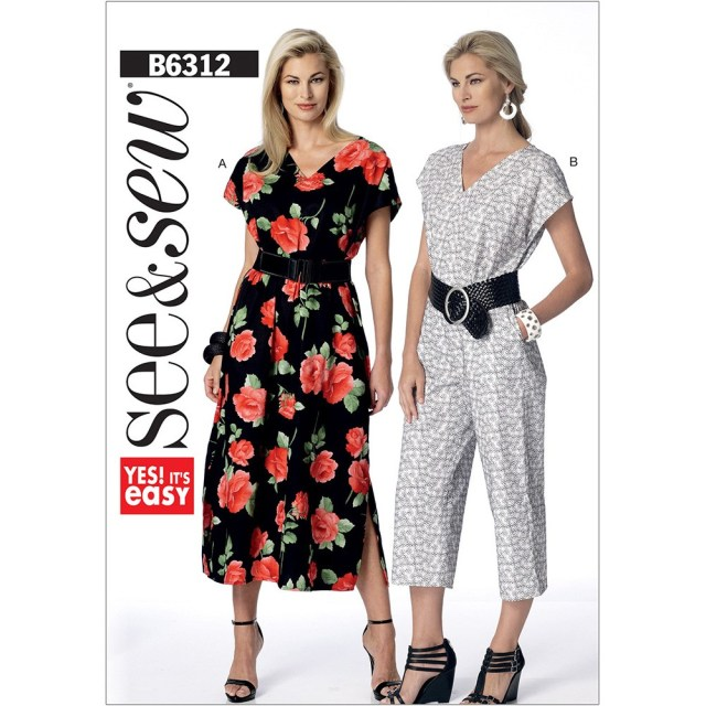 V Neck Dress Sewing Pattern Misses V Neck Dress And Jumpsuit Butterick Sewing Pattern 6312 Sew