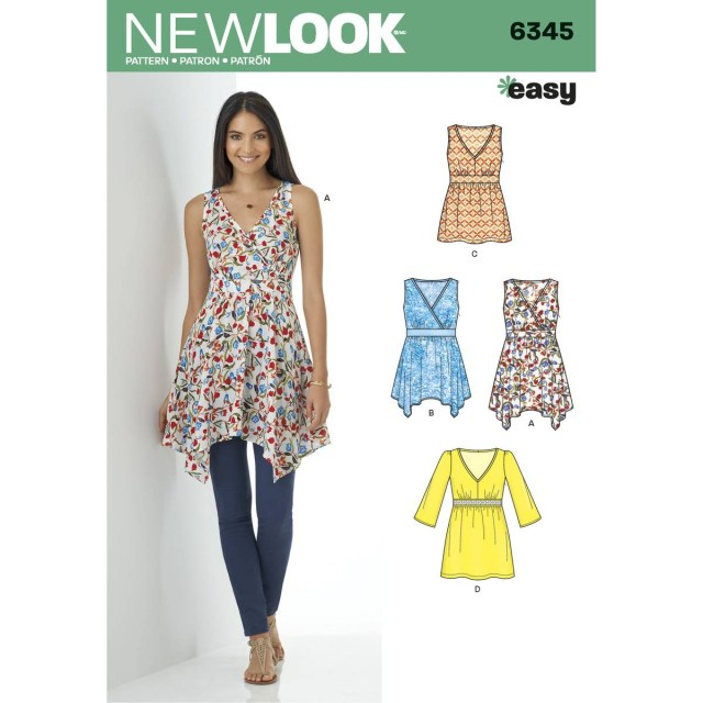 V Neck Dress Sewing Pattern New Look Womens V Neck Tops Sewing Pattern 6345 Hobcraft