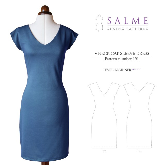 V Neck Dress Sewing Pattern Salme Sewing Patterns 151 V Neck Cap Sleeve Dress Downloadable Pattern