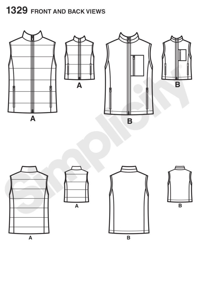 Vest Pattern Sewing Simplicity 1329 Boys And Mens Vests