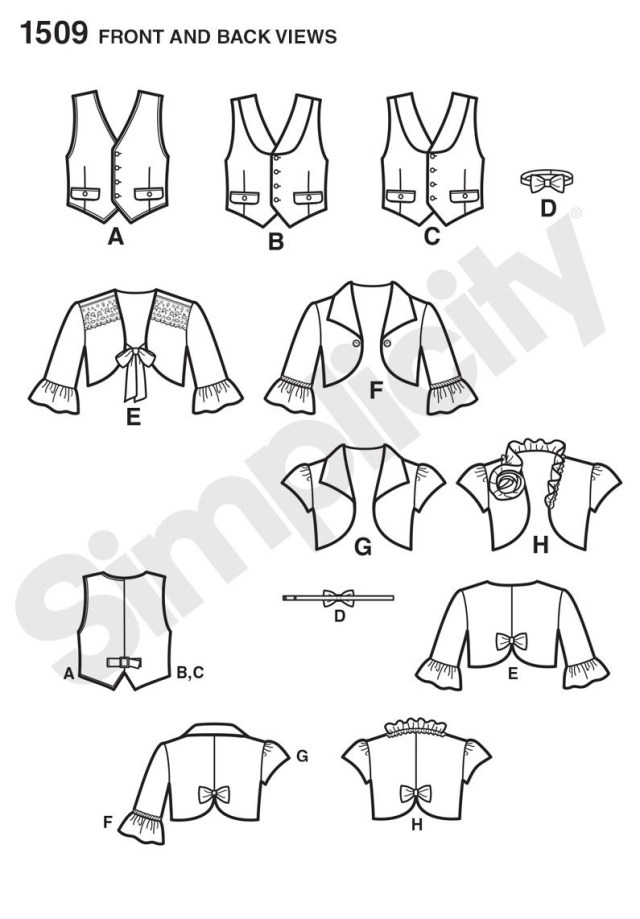 Vest Pattern Sewing Simplicity 1509 Childs Vest Bolero And Bow Tie