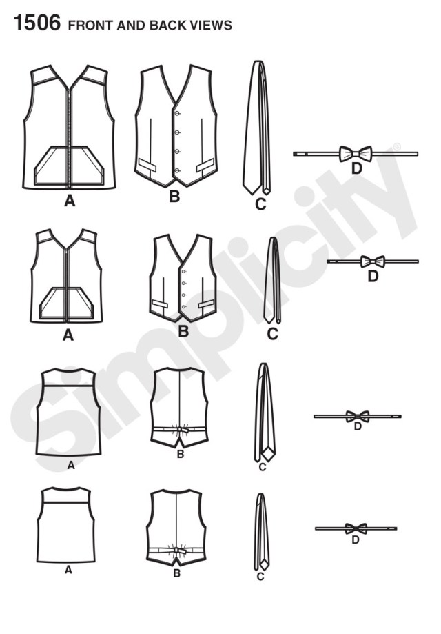 Vest Patterns To Sew Simplicity 1506 Husky Boys And Big And Tall Mens Vests