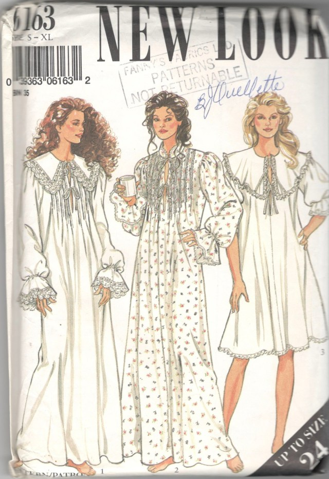 Victorian Sewing Patterns New Look 6163 Misses Victorian Style Nightgown Sewing Pattern Etsy