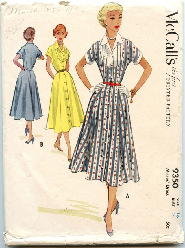 Vintage Sewing Patterns 1950s Mccalls 9350 Day Dress Inset Bodice Button Down Dress Flared