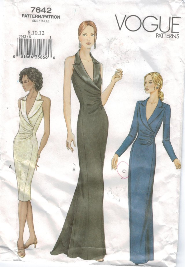 Vogue Sewing Patterns Vogue Pattern 7642 Evening Gowns Halter Short And Long Tuxedo Collar