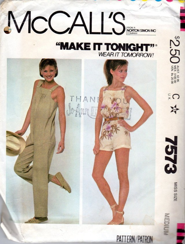 Womens Romper Sewing Pattern Easy 1980s Womens Jumpsuit Bib Overalls Pattern Size Medium 14