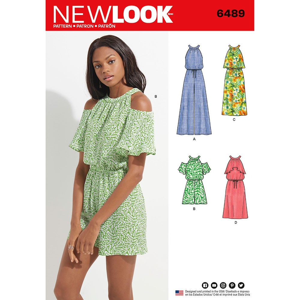 Womens Romper Sewing Pattern Misses Jumpsuit Romper And Dress New Look Sewing Pattern 6489 Sew