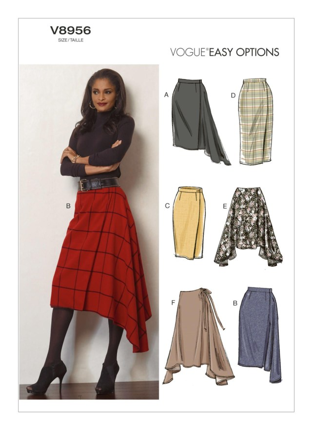 Wrap Skirt Sewing Pattern V8956 Vogue Patterns Semi Fitted Wrap Skirt Has Button Andor