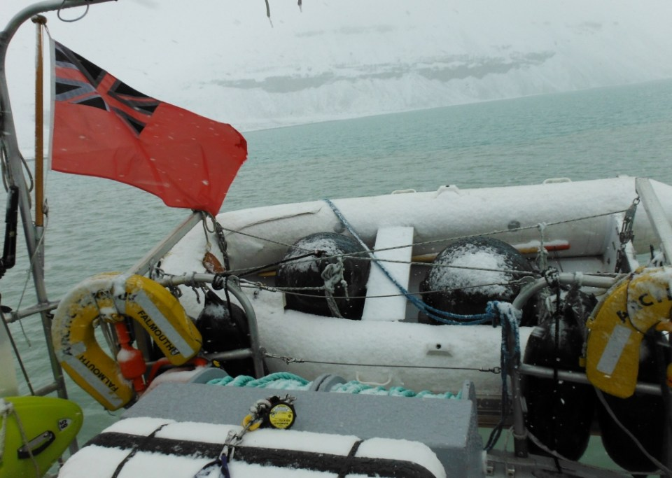 Snow on the boat the day we are pushed back to Graham Harbor.