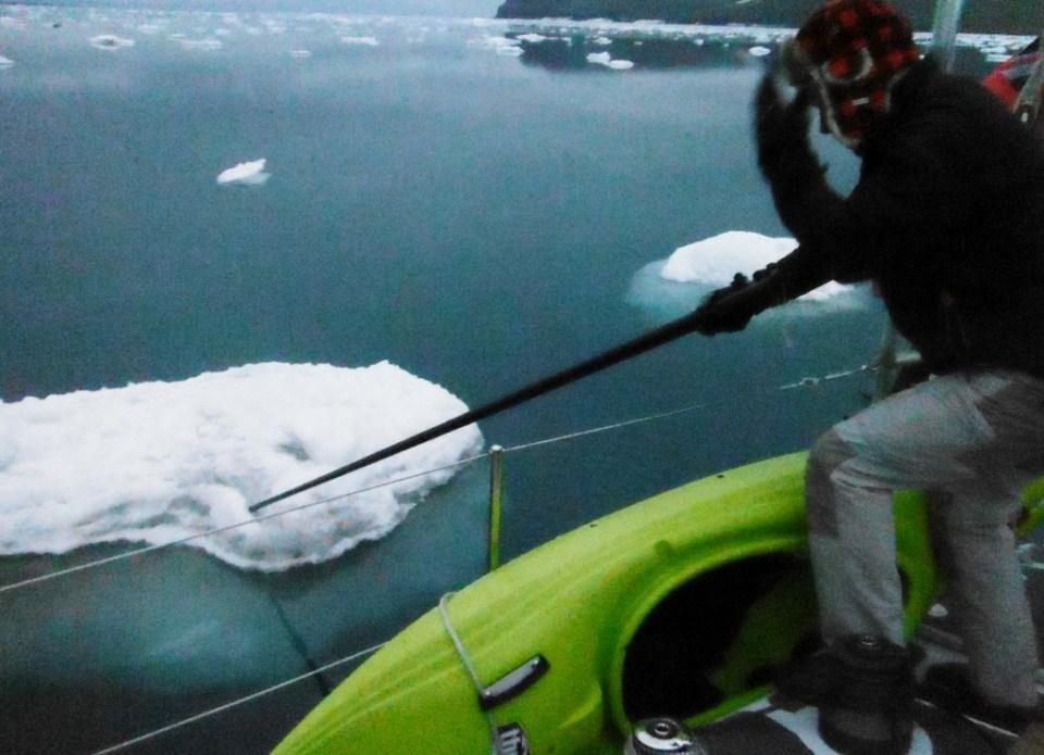 Nick poling ice in Port Leopold.