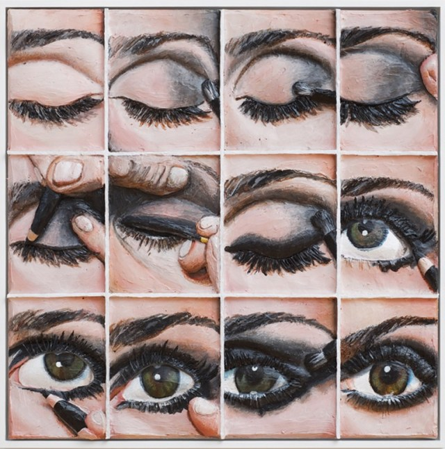 "© Gina Beavers ""Smokey eye tutorial"", 2014 Acrylic and wood on canvas, artists frame 30 x 30 inches Photo credit: Andres Ramirez Courtesy the artist and Clifton Benevento, New York"