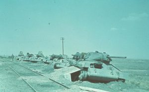 Wrecked Russian T-34 tanks