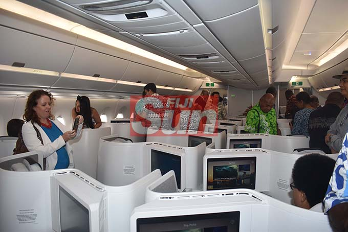 Guests on board the Fiji Airways A350 during the arrival ceremony at the Nadi International Airport yesterday. Photo: WAISEA NASOKIA