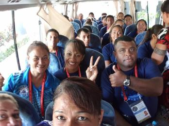 Team Fiji on the Bus