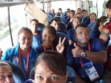 Team Fiji on the Bus