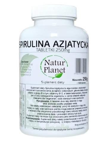 Spirulina Azjatycka 250g 1000 tabletek Natur Planet