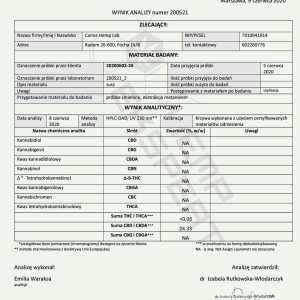 Olejek CBD Konopny 24% CBD+CBDA 10ml Full Spectrum Certyfikowany