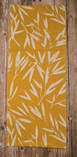 châle pure laine imprimé teinture végétale jaune bambou