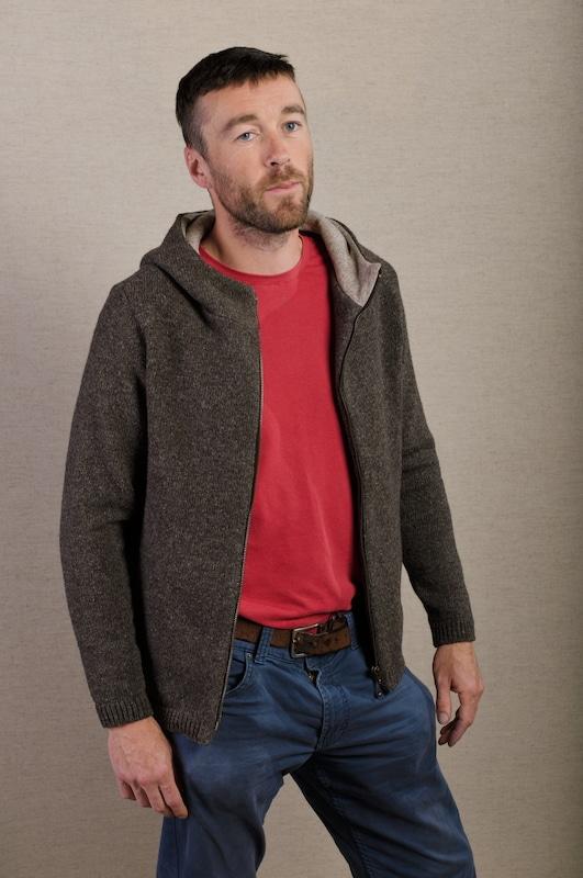veste tricot laine jersey marron capuche doublée