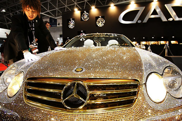The front of The diamond-studded Mercedes-Benz of Prince Alwaleed