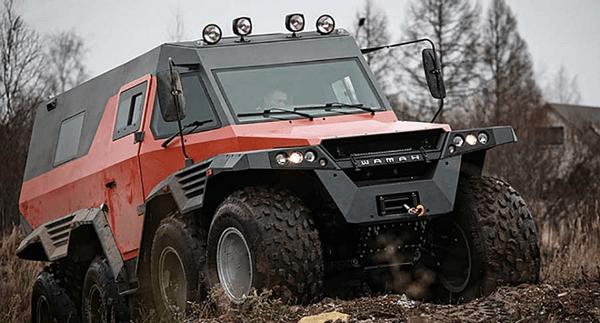 angular front of theAvtoros Shaman 8WD all-terrain