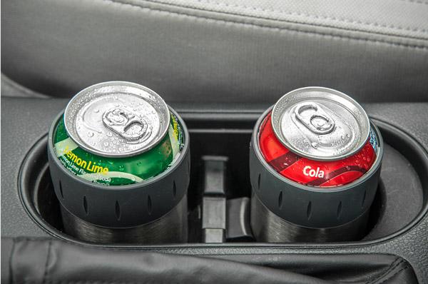 soda cans in a car cabin