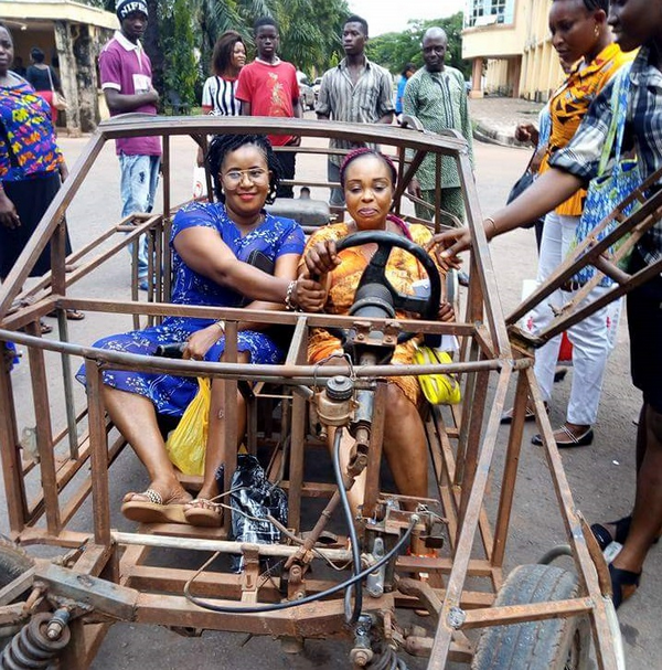 The two women in the self-made car