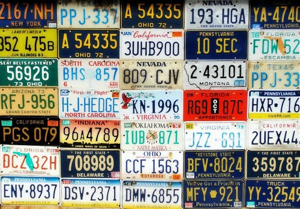 number plates in different fonts